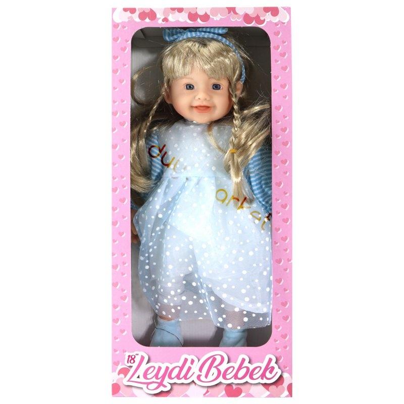 Leydi Bebek (Mavi Elbiseli Beyaz Puantiyeli Sarı Saçlı) - 45 Cm