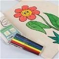 Boyanabilir Ayçiçek - Çocuk Bez Çanta - Kalemli