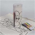 Boyanabilir Ayçiçek Çocuk Büzgülü Bez Çanta - Kalemli