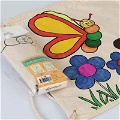 Boyanabilir Kelebek - Zıpzıp Büzgülü Bez Çanta - Kalemli