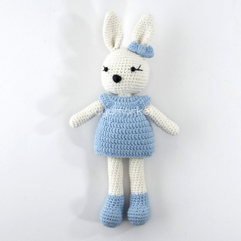 Amigurumi Mavi Elbiseli Şirin Tavşan ( 26 Cm )
