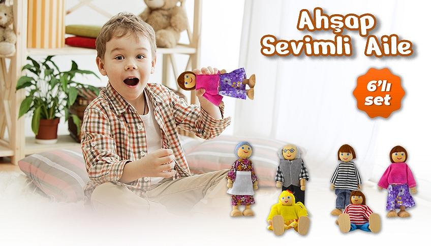 ahşap sevimli aile oyuncak